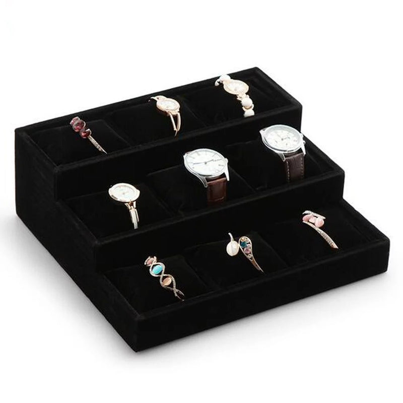 Velvet Watch Jewelry Display Tray - 3 Tier 9 Slots Holder with Soft Cushion Pillows, Black