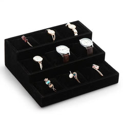 Velvet Watch Jewelry Display Tray - 3 Tier 9 Slots Holder with Soft Cushion Pillows, Black - Starzdeals
