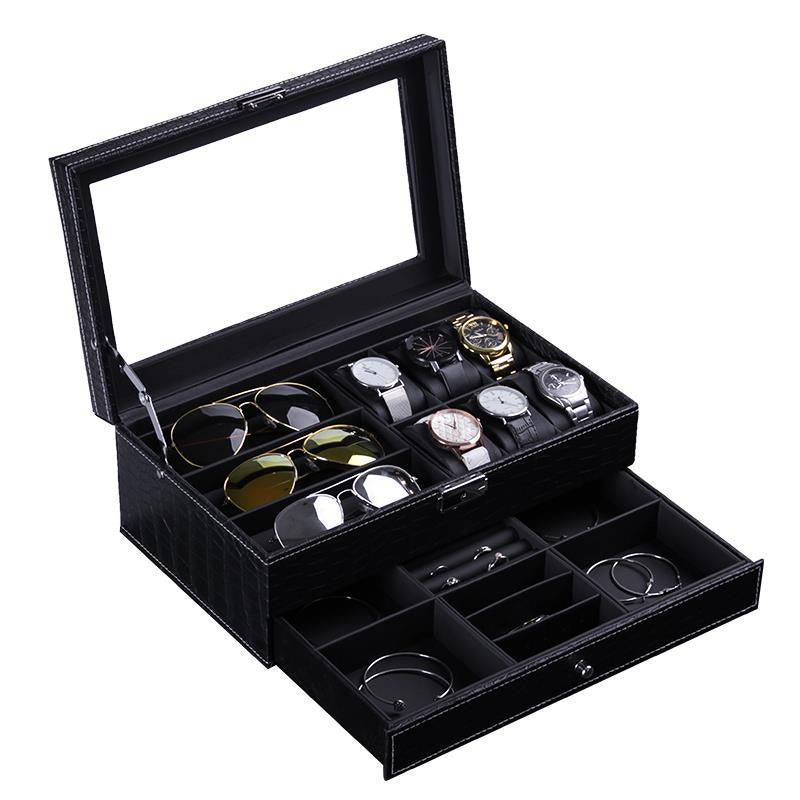 2 Tier Crocodile Skin Black Storage Box - Watch + Specs + Jewelry