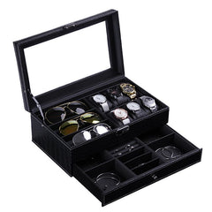 2 Tier Black Storage Box - Watch + Specs + Jewelry.
