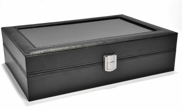 12 Slots Black PVC Inner Black Watch Storage Box.