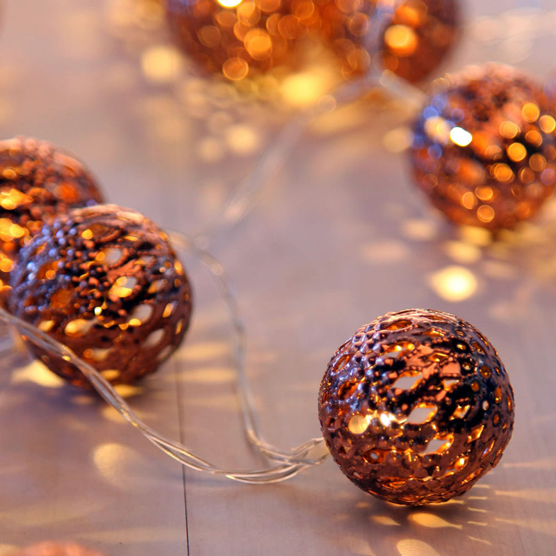 4 Meters 20 Rose Gold Balls (4cm) Battery Operated Fairy String Lights