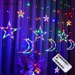 USB 3 Meters Stars / Moon Curtain Lights , Multi