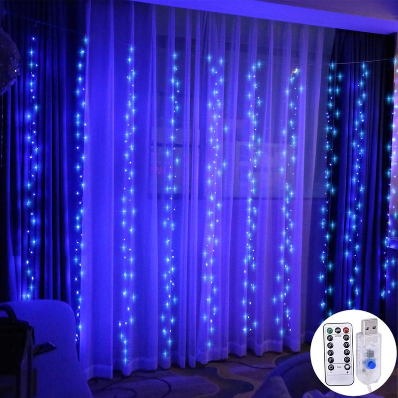 USB Operated - 3 Meter x 2 Meter 200 Led Fairy Curtain Lights , Blue