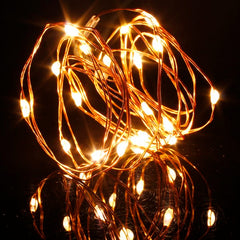 2 Meters 20 Led Copper Wire Battery Operated, Warm White.