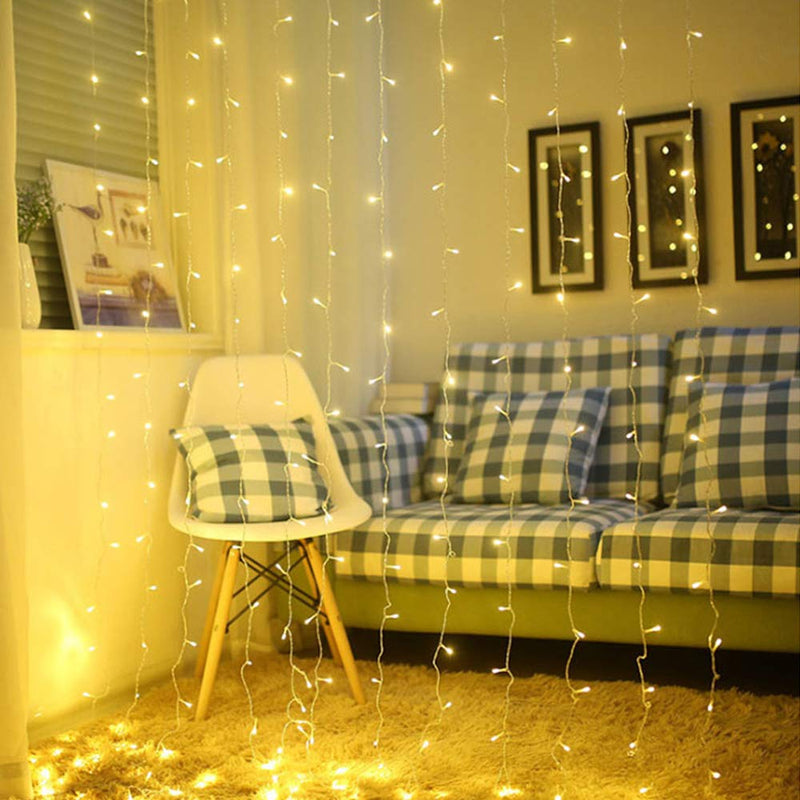 3 Meter x 2 Meter 200 Led Battery Operated Curtain Lights , Warm White.