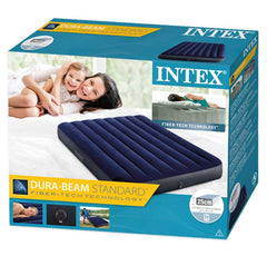 Intex Fiber Tech Dura Beam Queen (1.37) Air Bed + Electric Pump - Starzdeals