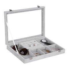 Velvet Jewelry Watch Box - 5 Slots + Ring Holder with Glass Top Watch Jewelry Box
