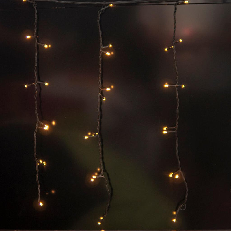Static Mode - 3 Meter x 1 Meter 200 Led Curtain Lights Power Point, Black String ,Warm White - Starzdeals