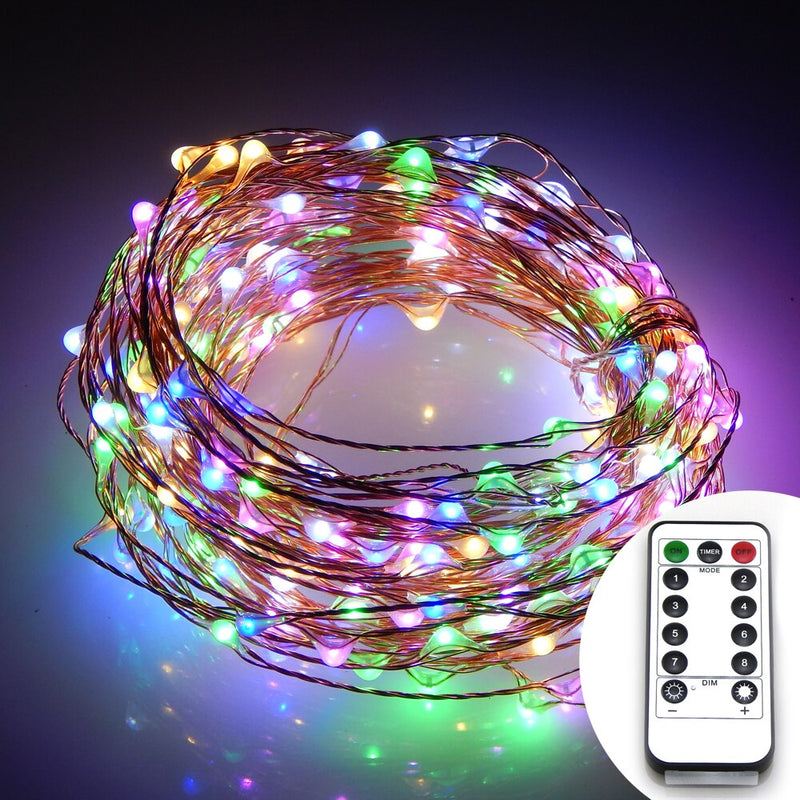 10 Meters 100 Led Battery Operated Copper Wire with 8 Modes + Remote Control, Multi.