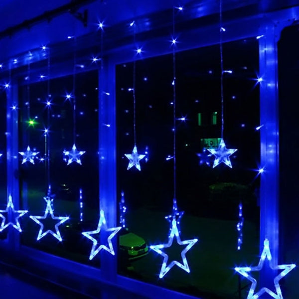 8 Modes - 3 Meter 12 Stars Curtain Lights Power Point, Blue - Starzdeals