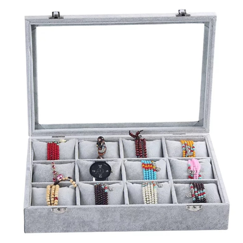 12 Slots Soft Pillows Watch Jewelry Storage Box.