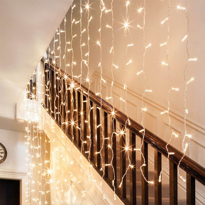 Static Mode - 3 Meter x 1 Meter 200 Led Curtain Lights Power Point, Warm White - Starzdeals
