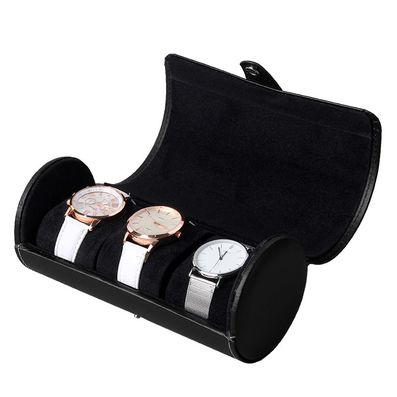 3 Slot Full Black Travel Watch Case.