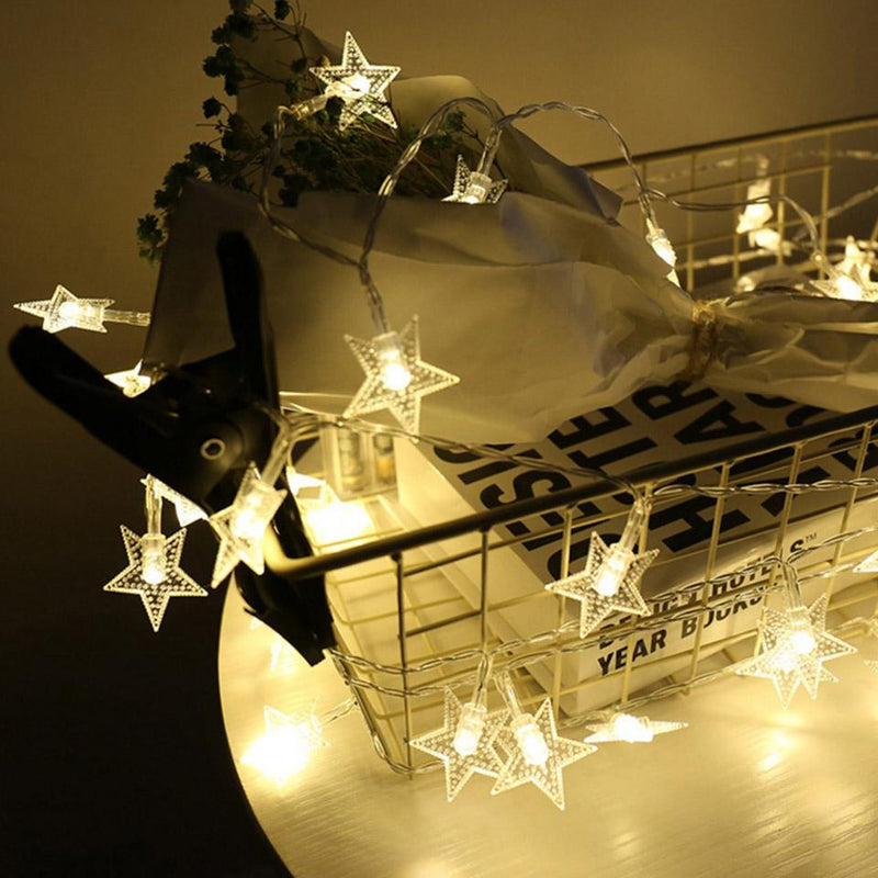 Battery Operated - 5 Meter 50 Stars Fairy String Light , Warm White - Starzdeals