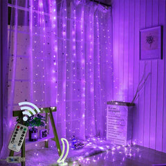 USB Operated - 3 Meter x 2 Meter 200 Led Fairy Curtain Lights ,Purple