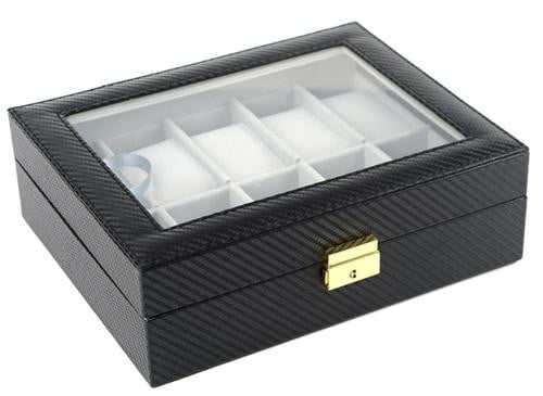 10 Slots Carbon Fiber with Inner Grey Watch Storage Box.