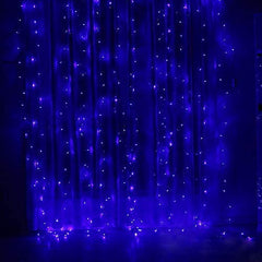 USB Operated - 3 Meter x 3 Meter 300 Led Fairy Curtain Lights , Blue