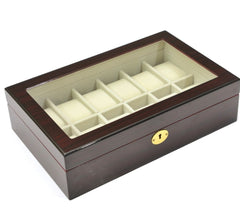 12 Slots Dark Rose Wood Watch Storage Jewelry Box Case