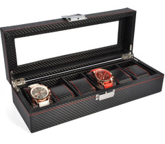 6 Slot Full Carbon Fiber Watch Storage Box - Starzdeals