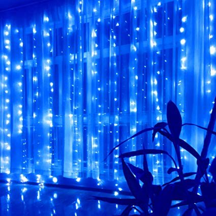 8 Modes - 3 Meter x 2 Meter 240 Led Curtain Light Power Point , Blue - Starzdeals