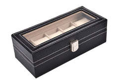 5 Slots Black PVC Watch Storage Box.