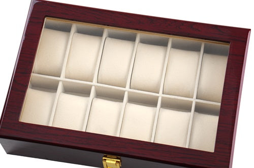 12 Slots Rose Wood Watch Storage Box.
