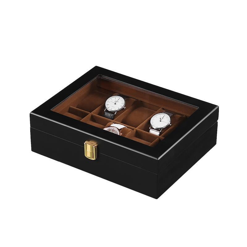 10 Slots Black Matte Wood with Inner Brown Watch Box - Starzdeals
