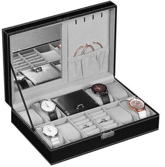 8 Slot Watch Storage + Jewelry Compartment with Mirror.
