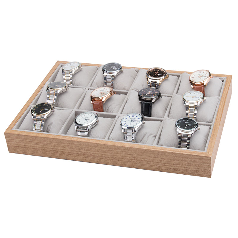 12 Grids Wooden Watch Jewelry Storage Tray