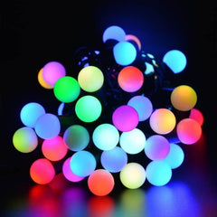 8 Modes - 10 Meter 100 Balls Black String Fairy Light Power Point , Multi