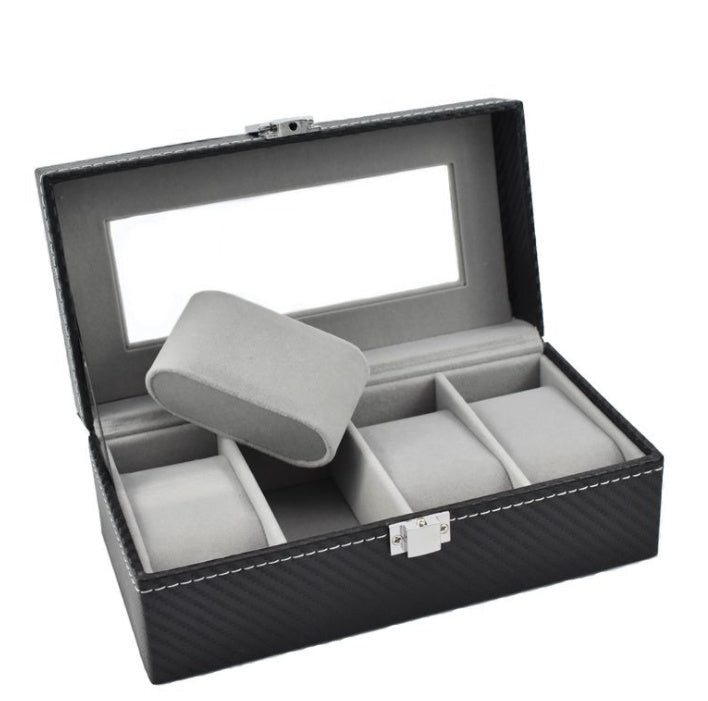 4 Slots Carbon Fiber Inner Gray Watch Storage Box.