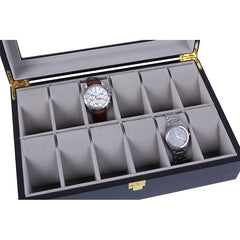 12 Slots Black Matte Wood with Inner Gray Watch Storage Box.