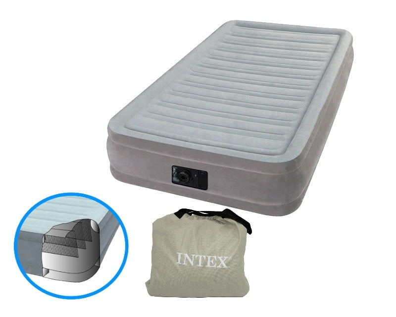 Intex Fiber Tech Dura Beam Plus Queen (137 cm) with Built In Pump, Air Mattress.