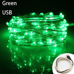 Static Mode - 20 Meters 200 Led USB Silver Wire String Light, Green