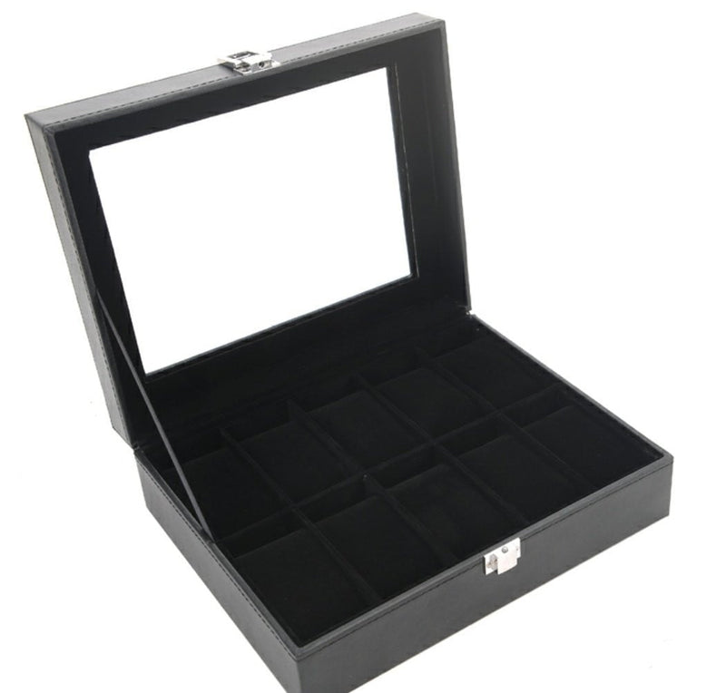 10 Slots Black PVC Inner Black Watch Storage Box - Starzdeals