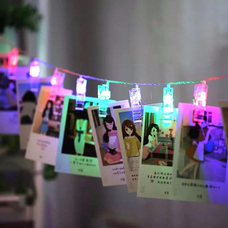 2 Meters 20 Photo Clips Battery Operated Fairy String Light, Multi