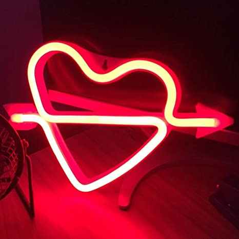 Heart Neon Light, Powered by USB / Battery Operated,Red