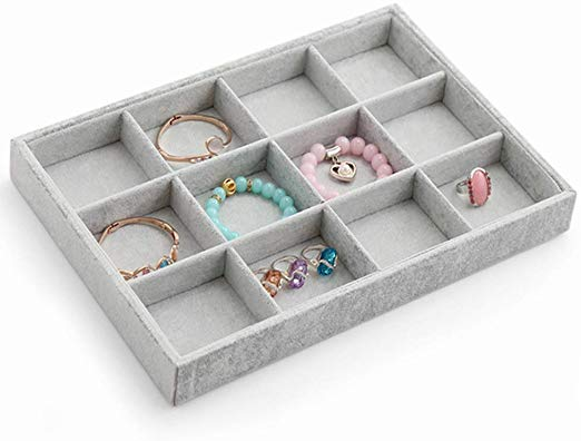 12 Grids Velvet Grey Jewelry Watch Display Tray