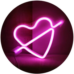 Heart Neon Light, Powered by USB / Battery Operated, Pink