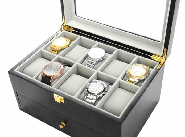 20 Slots Black Matte Wood Watch Storage Box