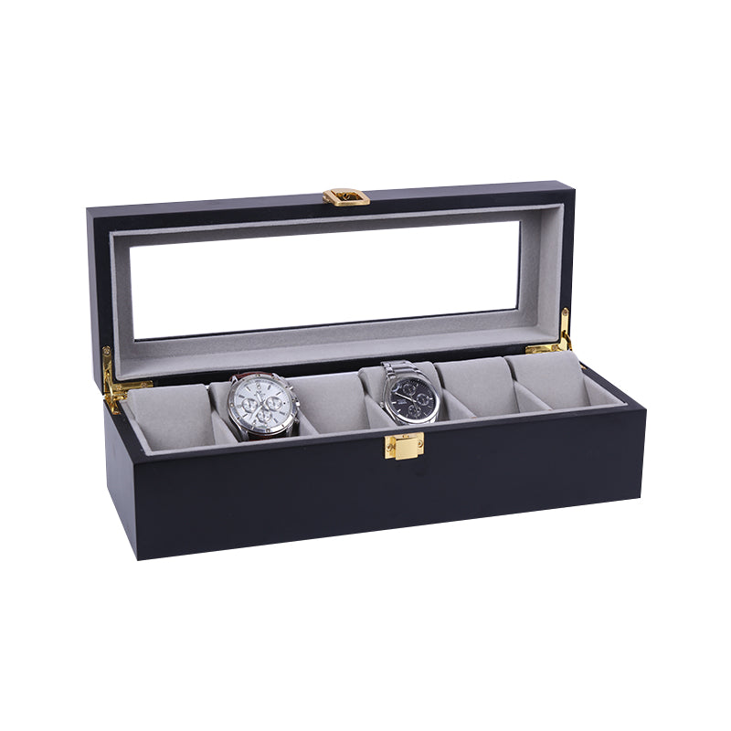 6 Slots Black Matte Wood with Inner Gray Watch Storage Box.