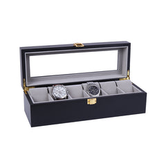 6 Slots Black Matte Wood with Inner Gray Watch Storage Box