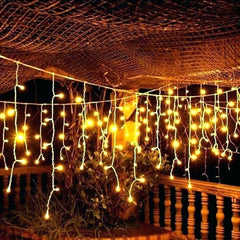 8 Modes - 5 Meter 280 Led Fairy Curtain Lights Power Point , Warm White - Starzdeals