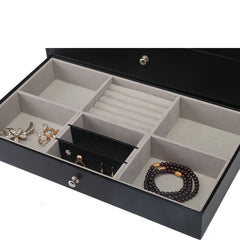 3 Tier Watch + Specs + Jewelry PVC Black Storage Box