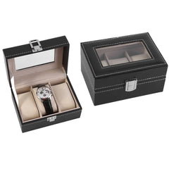 3 Slots Black PVC Watch Storage Box.