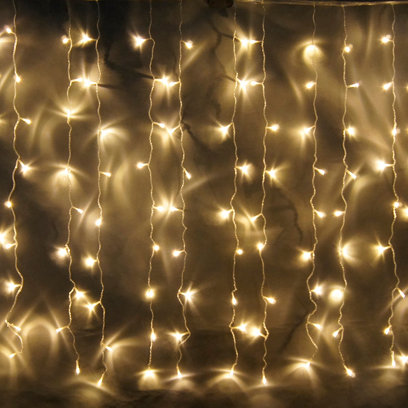 8 Modes - 3 Meter x 1 Meter 200 Led Curtain Lights Power Point, Warm White.
