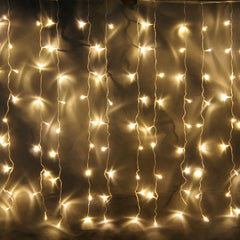 8 Modes - 3 Meter x 1 Meter 200 Led Curtain Lights Power Point, Warm White - Starzdeals