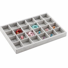 24 Grids Velvet Grey Jewelry Display Tray - Starzdeals