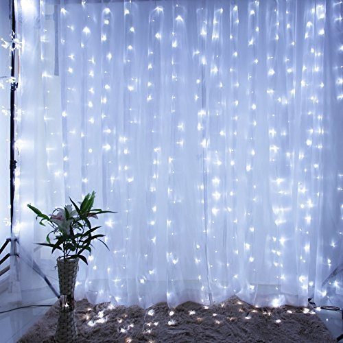 3 Meter x 2 Meter 200 Led Battery Operated Curtain Lights, Pure White.